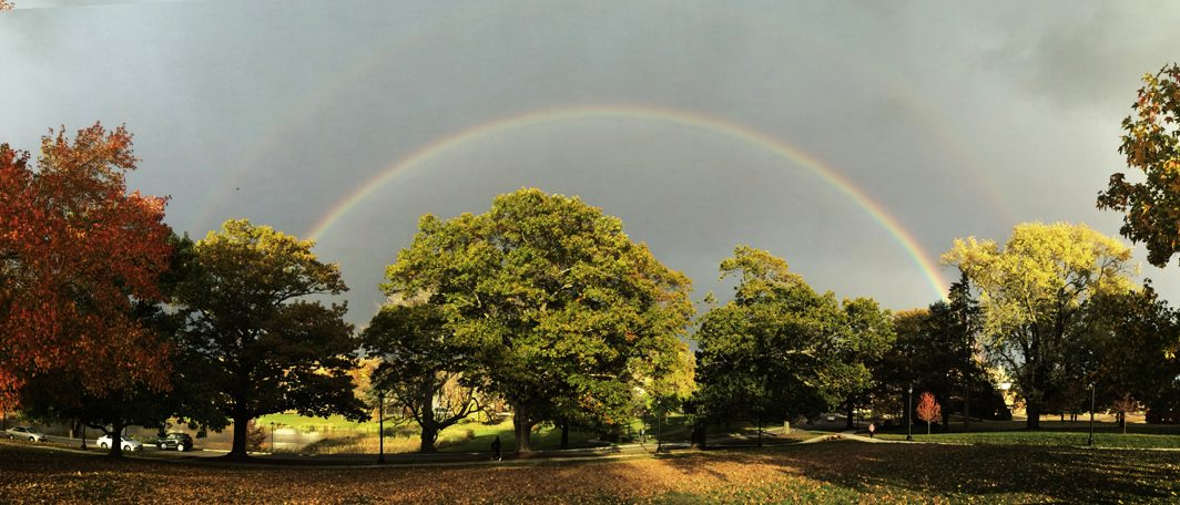 Photo of double rainbow at UConn by Del Siegle