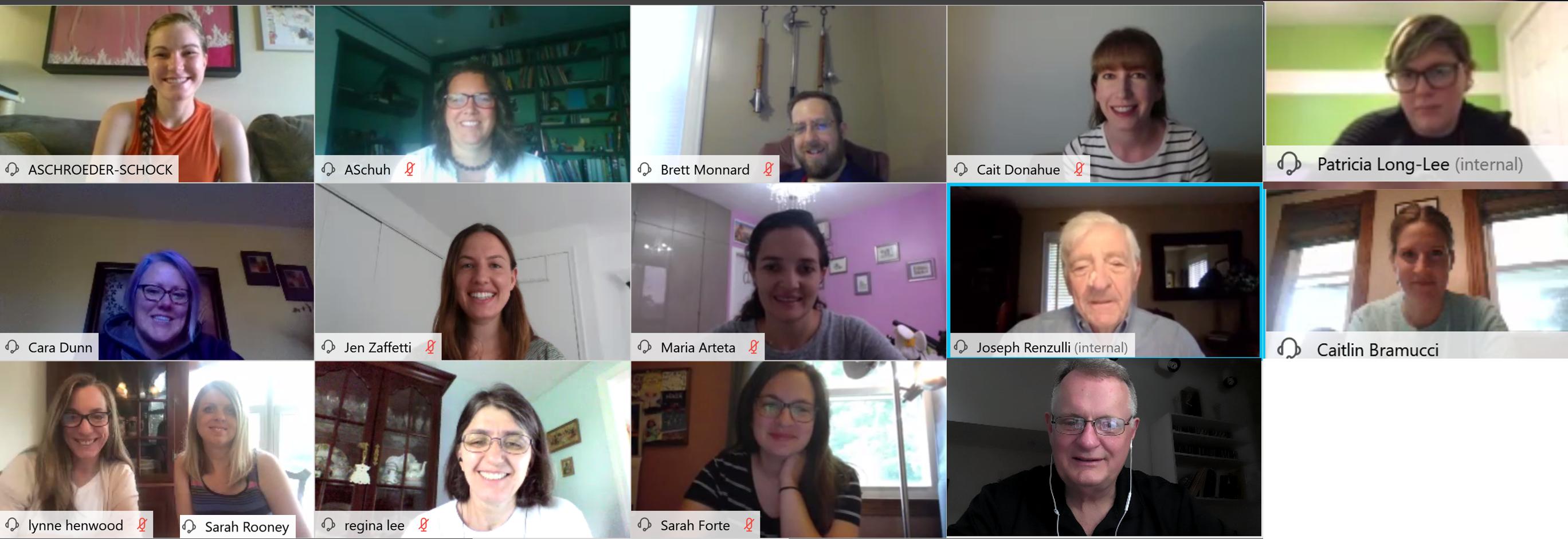 Screen shot of the 2020 Seminar class meeting via Webex